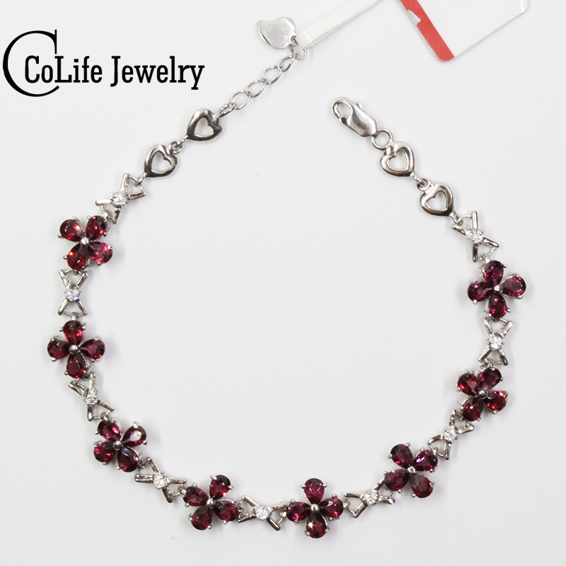 Romantic flower bracelet 32 pcs natural wine red garnet silver bracelet solid 925 silver gemstone bracelet brithday gift 4 6mm natural garnet wrap bracelet silver red wine charms bracelet round beads bracelets for women