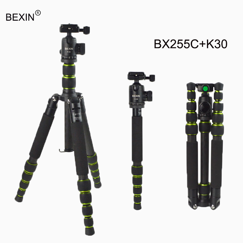 BEXIN 5 Sections Portable Carbon Fiber Tripod Professional Tripod Monopod with Ball Head For travel SLR Camera flexible Tripod benro a35fbr1 original tripod for slr camera reflexum professional tripod aluminum tripod functional monopod climbing stick