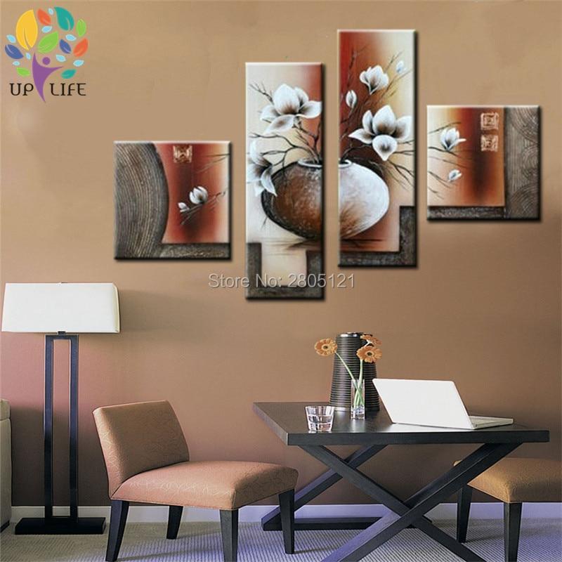 100% Handgeschilderde Canvas Schilderijen witte orchidee bloemen ...