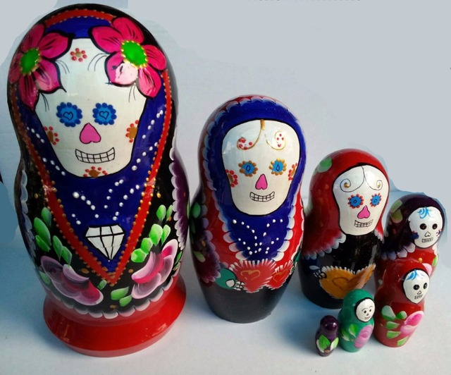 day of the dead matryoshka dark blue wooden russian nesting dolls