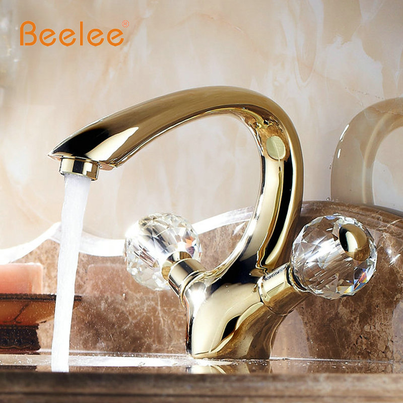 Beelee Golden Brass crystal handle Bathroom Basin Faucet tap toilet water faucet hot&cold basin sink Mixer Tap BL6046G bathroom wash basin faucet chrome plated brass sink basin faucet hot and cold single hole toilet basin faucet mixer water tap