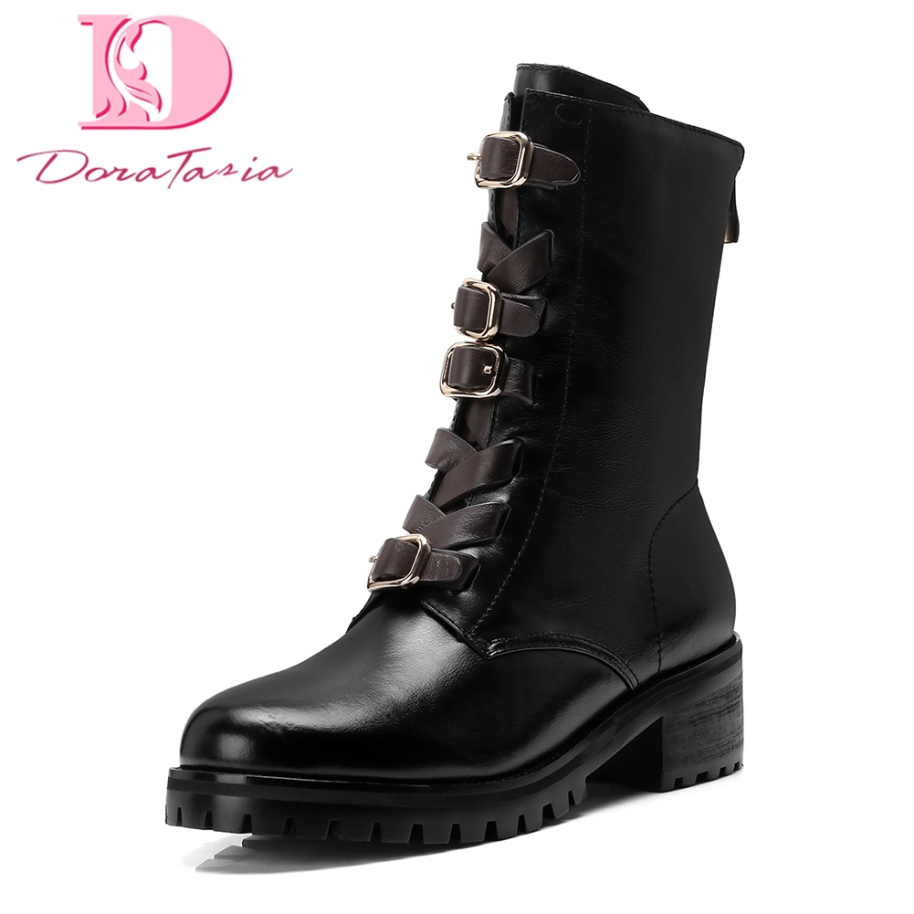 Doratasia 2018 genuine Cow Leather Hot Sale winter Boot Women Shoes Woman Zip Up square Heels Ankle Boots Woman ShoesDoratasia 2018 genuine Cow Leather Hot Sale winter Boot Women Shoes Woman Zip Up square Heels Ankle Boots Woman Shoes