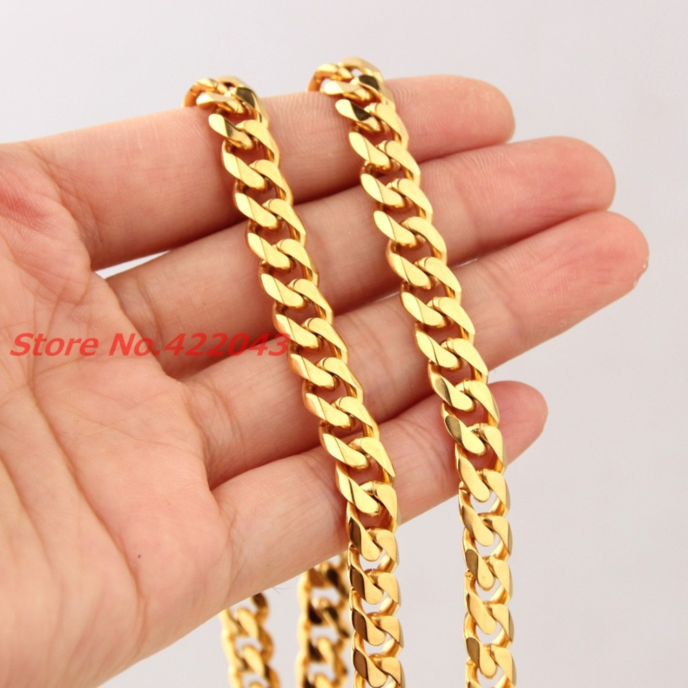 WholesaleRetail! Customized Size 316L Stainless Steel Gold color Curb Cuban Chains Neklace 8mm For Handsome Boy Men