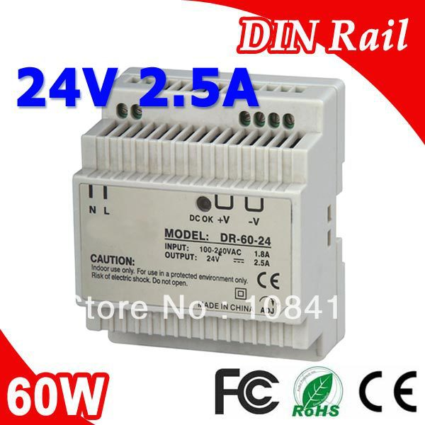 DR-60-24 LED Single Output Din Rail Power Supply Transformer DC 24V 2.5A Output SMPSDR-60-24 LED Single Output Din Rail Power Supply Transformer DC 24V 2.5A Output SMPS