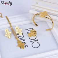 Ethiopian Jewelry Pendant Necklace Chain Earrings Bangle Ring Set Coptic Crosses Gold Plated African Cross Wedding
