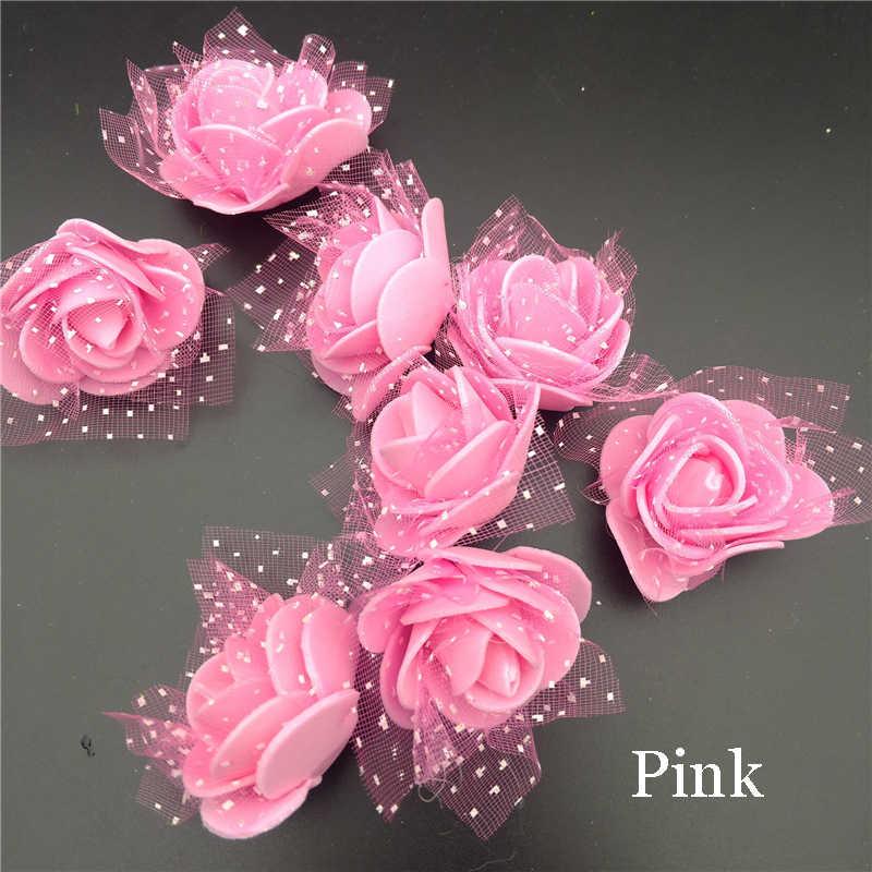 20 шт., искусственный цветок из пенопласта с кружевом и розой для свадебного украшения, декоративный венок, искусственные цветы