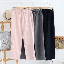 Весенне-осенние хлопковые домашние штаны для женщин, пижамные штаны полной длины, повседневная женская пижама Mujer, брюки, пижамные штаны