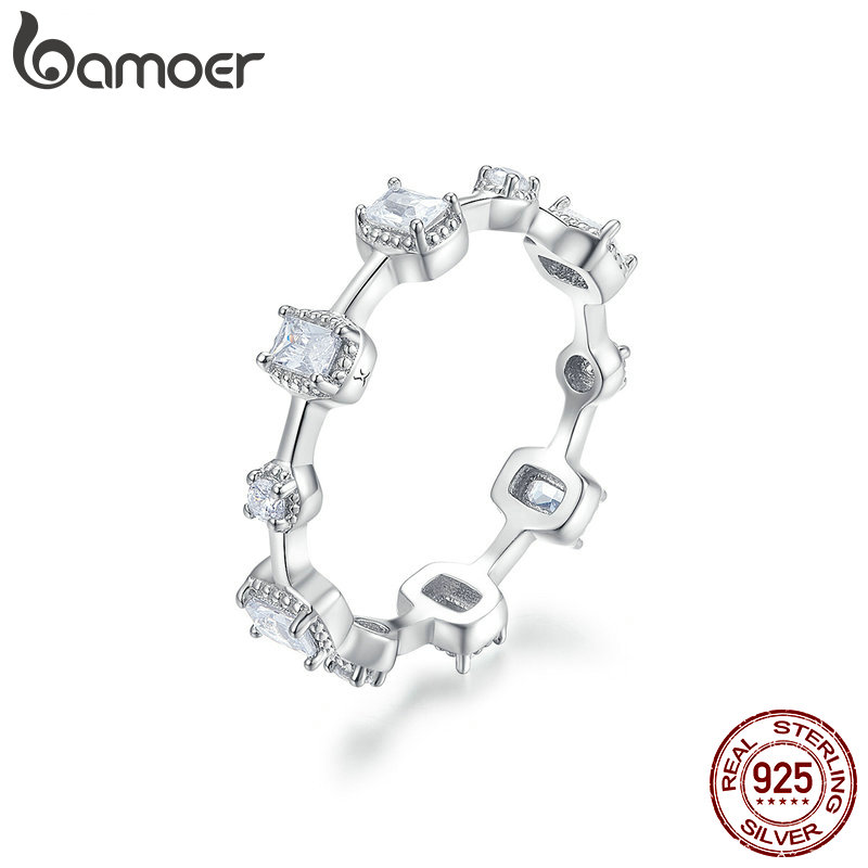 BAMOER Original 100% 925 Sterling Silver Finger Ring Authentic Luxury Jewelry For Women