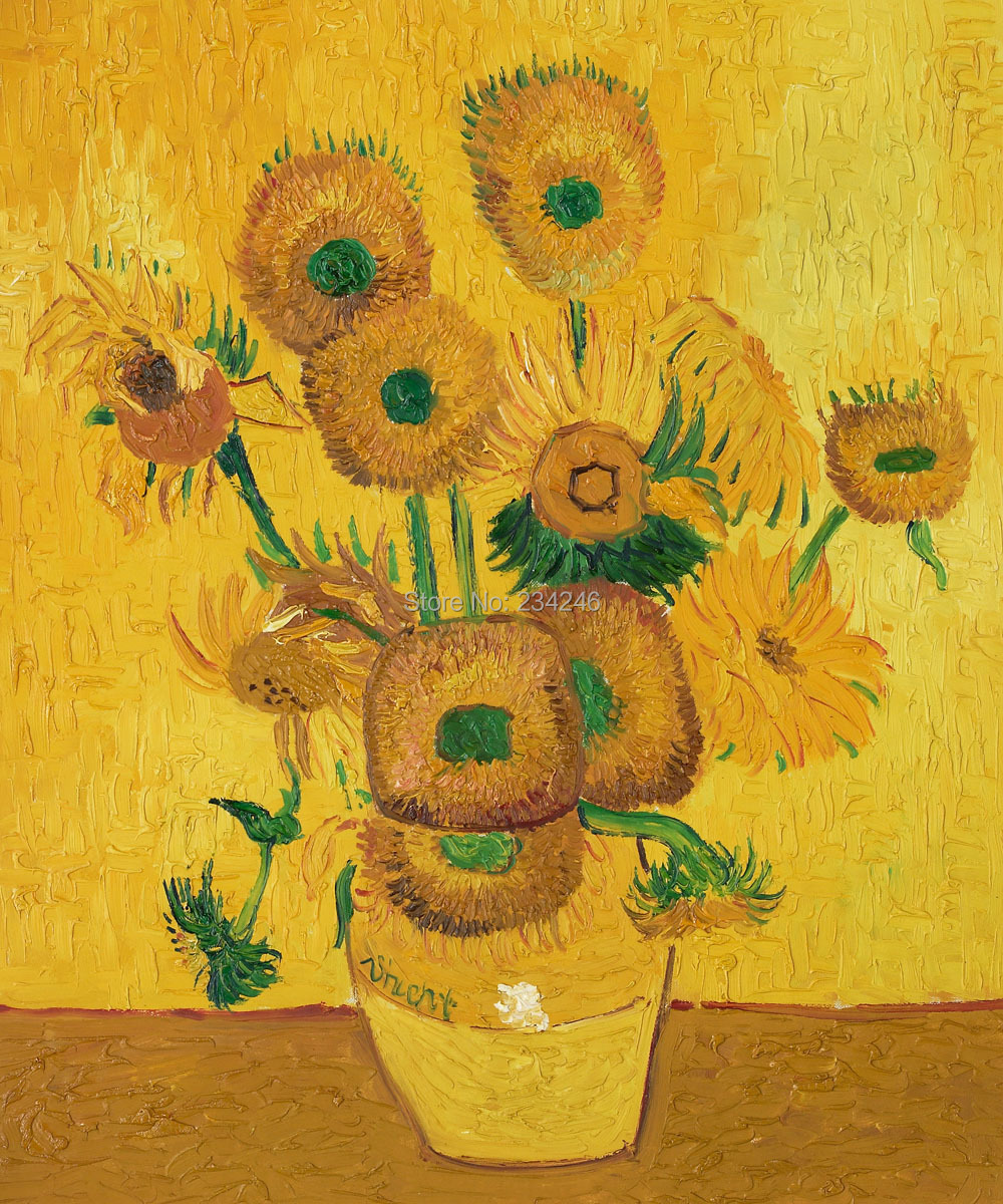 Peint la main van gogh peinture l 39 huile vase avec quinze tournesols floral reproduction - Peinture a l huile van gogh ...