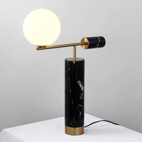 Fashion Europe Marble Bedside Lighting Desk Table Lamp For Bedroom Home Decoration Plated Metal +glass ball lampshade 100 240v|LED Table Lamps|   -