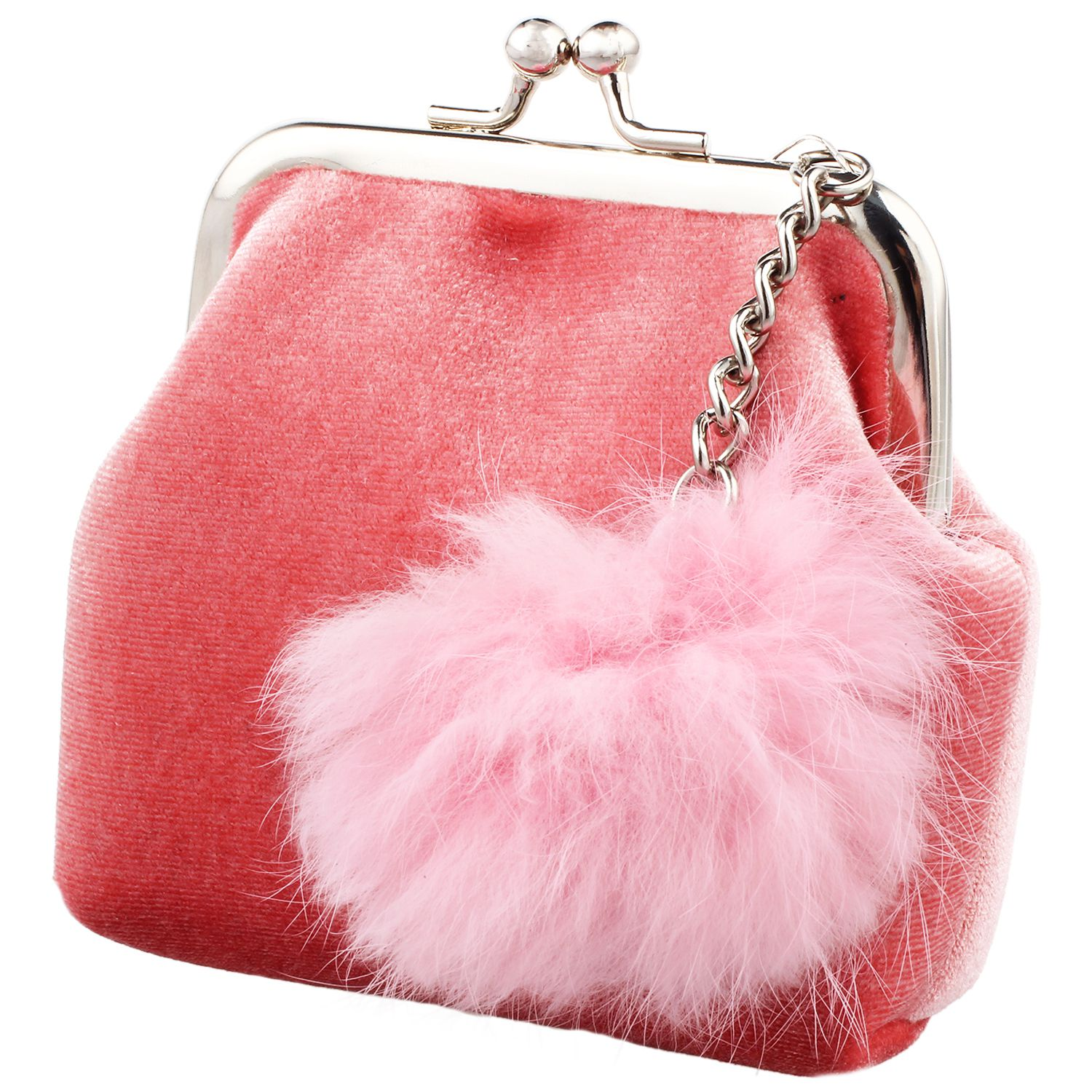 WCS-Fashion Women Velvet Lovely Small Wallet Cute Fur Ball Lady Daily Use Travel Hasp Retro Kids Mini Bags Soft Wallet For gi