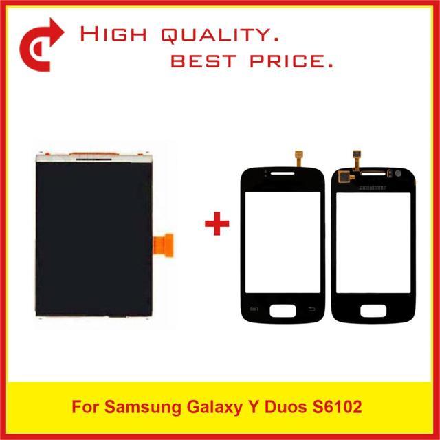 """ที่มีคุณภาพสูง3.14 """"สำหรับSamsung Galaxy Y Duos S6102จอแอลซีดีแสดงผลด้วยหน้าจอสัมผัสDigitizerแผงเซ็นเซอร์+ติดตามรหัส"""
