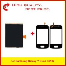 "High Quality 3.14"" For Samsung Galaxy Y Duos S6102 LCD Display With Touch Screen Digitizer Sensor Panel+Tracking Code"