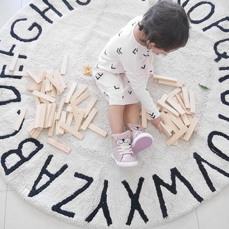 120CM INS Kids Crawling Carpet Baby Infant Play Mats Letter Pattern Floor Rug Fleece Round Blanket Children Room Decor Game Pad