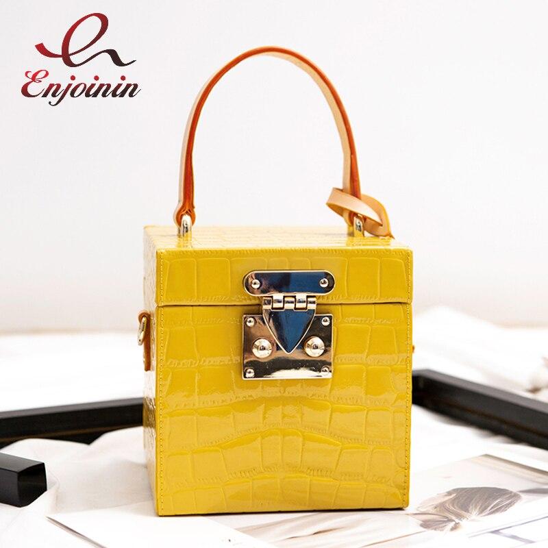 정품 가죽 상자 디자인 버클 캔디 컬러 스톤 패턴 여성 핸드백 숄더 가방 스타일링 가방 디자이너 가방 crossbody 가방-에서탑 핸드백부터 수화물 & 가방 의  그룹 1