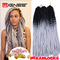 20 Inch Ombre Black Grey Color Faux Locs Crochet Braids Pre Braided Synthetic Soft Dreadlocks Braiding Hair Extensions Wholesale