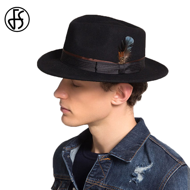 FS Mens Hats <font><b>Fedoras</b></font> Wide Brim Astralia Wool <font><b>Fedora</b></font> Autumn Winter Panama Felt Hat Trilby Feather Caps <font><b>For</b></font> Gentleman Black