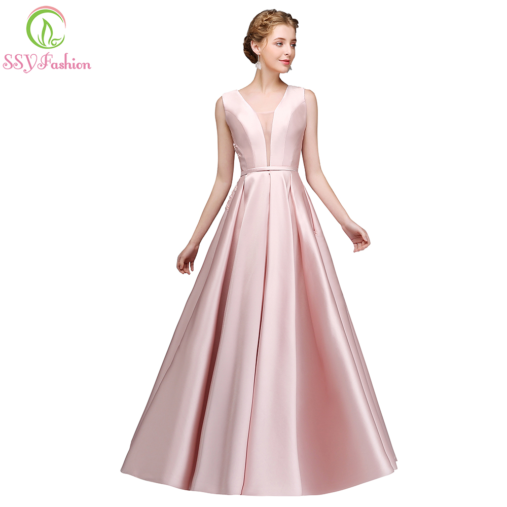 SSYFashion New Simple Pink Satin Evening Dress the Banquet Beautiful Back Appliques with Bow Long Prom Party Gown Robe De Soiree