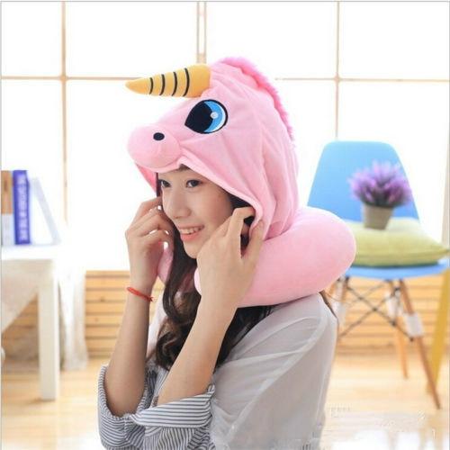AU Cartoon Unicorn Neck Rest U-Shaped Travel Hooded Pillow Cushion Compact Soft 2
