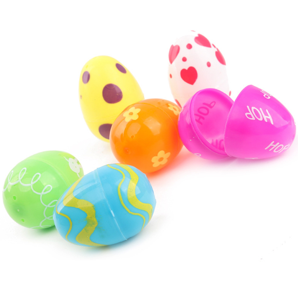12pcs/pack Empty Easter Egg DIY Non-toxic Small Lottery Gifts Kid Toy Funny Detachable Decorative Handmade Colorful Plastic