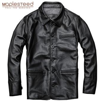 MAPLESTEED mężczyźni płaszcz skórzany długi 100% naturalne cielęcej Skórzany płaszcz pojedyncze piersi długi męski płaszcz jesień mężczyzna odzież