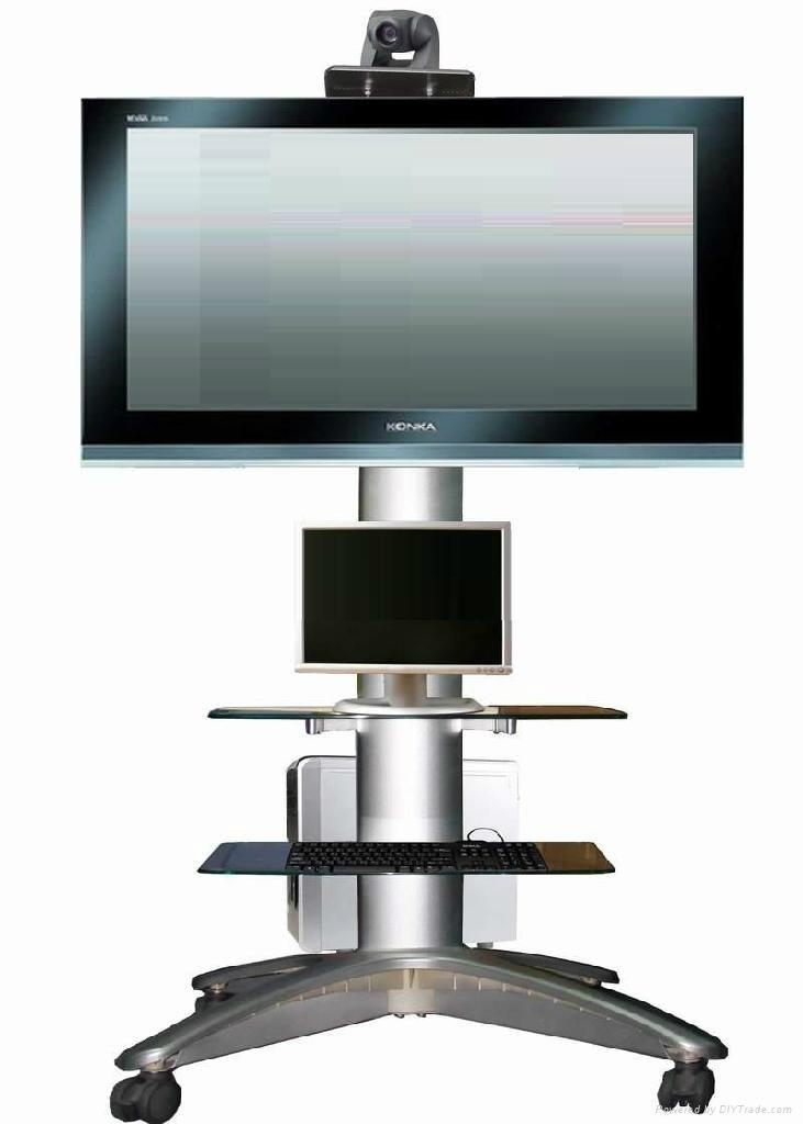 height adjustable universal outdoor advertise silver color tv stand with four wheelscam holder salver for audio visual system