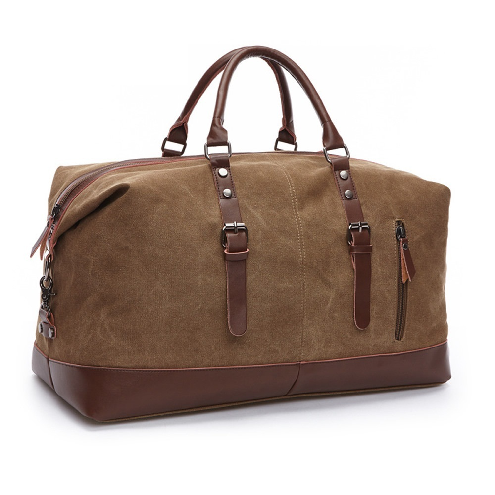 DB74 Original Z.L.D Canvas Leather Men Travel Bags Carry On Luggage Bags Men Duffel Bags Travel Tote Large Weekend Bag Overnight