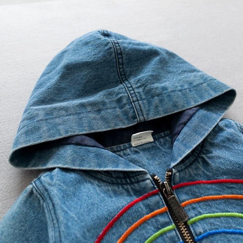 2017 Верхняя одежда, пальто для малышей для девочек и мальчиков Джинсы для женщин куртка осень Вышивка Радуга Детская джинсовая куртка с капю...