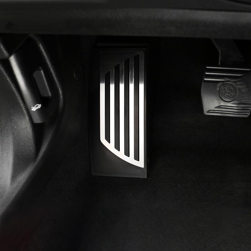 Aluminum Car Accelerator Gas Pedal Brake Pedal Footrest Pedal Plate Cover At For Alfa Romeo Giulia Stelvio 2017 2018 Accessories