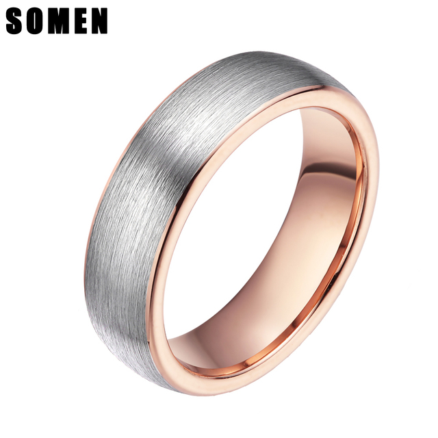 89bd4b633bfa9 US $7.29 36% OFF 6mm Brushed Rose Gold Inlay Tungsten Carbide Rings For  Women Engagement Ring Female Wedding Band Fashion Jewelry anillos mujer-in  ...