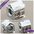 2016 Winter NEW Woman Jewelry Santa's Home White  Translucent Red Enamel Charm Bead S925 Silver Fit European Bracelets Necklaces