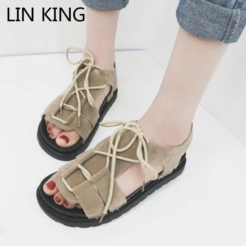LIN KING Thick Sole Women Sandals Retro Rome Gladiator Sandals Students Thick Sole Platform Shoes Lace Up Summer Beach Shoes women flat wedge espadrille sandals lace tie up platform summer beach shoes lxx9