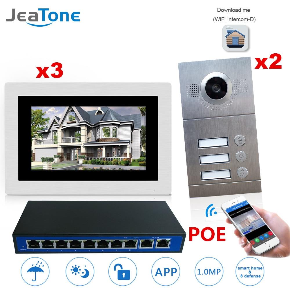 WI FI Беспроводной IP телефон видео домофон Системы 7 ''Сенсорный экран для 3 этажа 2 двери квартиры/8 зоны сигнал тревоги Поддержка смартфон