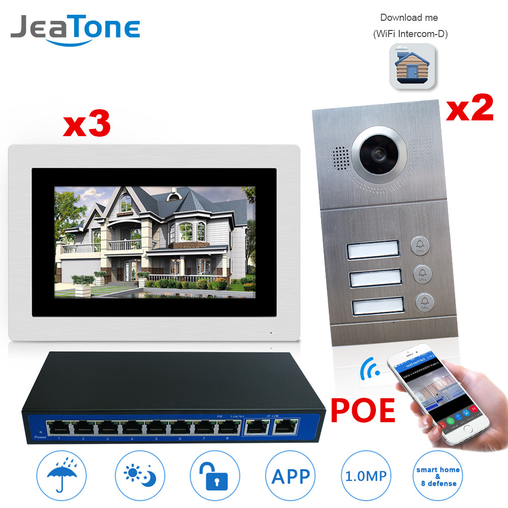 WIFI Wireless IP Video Door Phone Intercom System 7'' Touch Screen For 3Floors 2doors Apartment/8 Zone Alarm Support Smart Phone