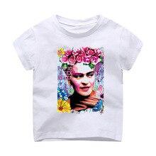 139f1fbf8037 Camiseta Modal impresión niños ropa manga corta Camiseta México Frida Kahlo  arte icono corto novedad hara