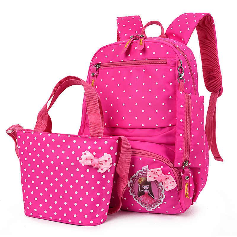 2019 children school Backpack For Girls Kids School Bags 3 Pcs/Set Schoolbag Dot Printing cartoon School Rucksack Cute mochila