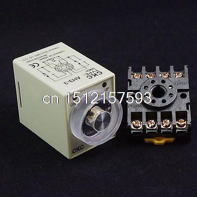 12VAC Power On Delay AH3-3 Timer 0-60 second Relay With Socket Base PF083A 8PINS 220vac 110vac 24vac 12vac 24vdc 12vdc power on delay timer time relay 0 30 second ah3 3
