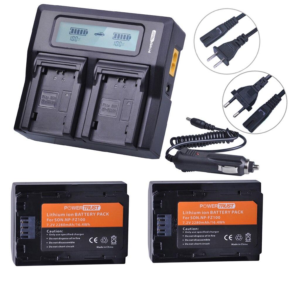 2x2280 mah NP-FZ100 NPFZ100 NP FZ100 Batterie + LCD Rapide Double Chargeur pour Sony BC-QZ1 Alpha 9 9R a9R 9 s ILCE-9 A7R A7 III ILCE-7M3