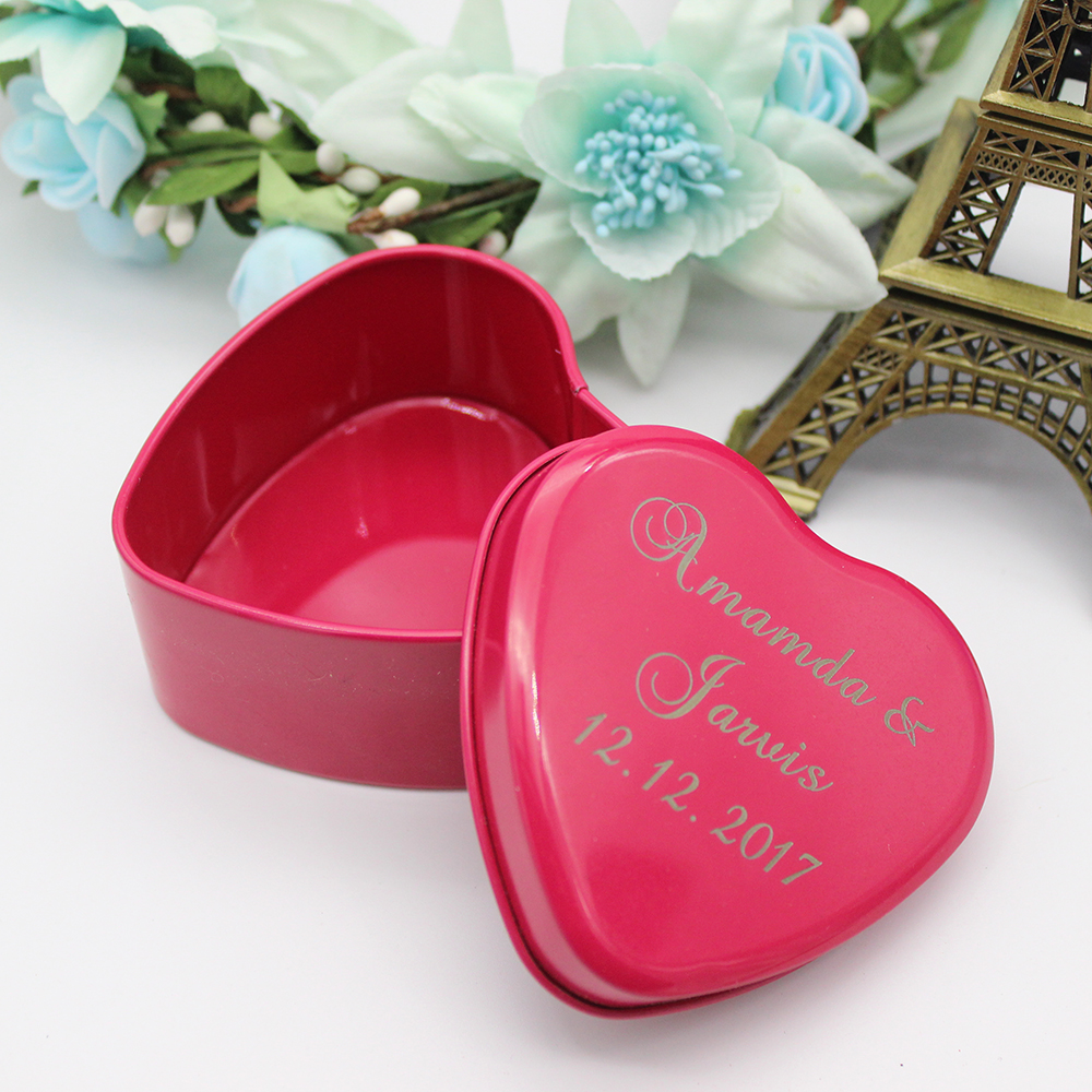 7.4*7.2*3.8cm 20pcs Personalized Engraved Love Heart Tinplate ...