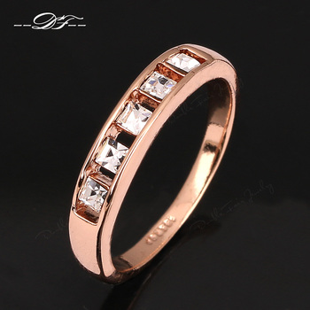 Hot Sale Simple Crystal Rock Rose Gold Color Ring For Men and Women Cubic Zirconia Engagement Jewelry Wholesale anel DFR313 Ожерелье