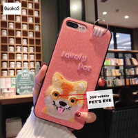Cute 360 Degree Rotate PET EYE Soft Case For IPhone6 6S 6Plus Embriodery Cartoon Protective Shell