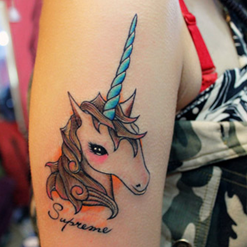 Temporary Tattoos Sticker for Men Women Arm Leg Fake Sexy Unicorn Designs Waterproof Body Art Makeup Long Lasting Real Looking