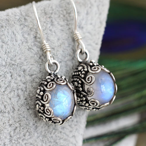 India Nepal 925 silver handmade jewelry inlaid natural stone carved blue moonlight maid Earrings