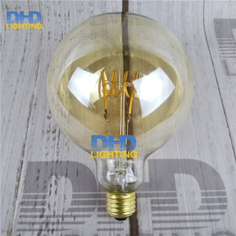 Free shipping Globle G125 amber glass LED spiral filament bulb for vintage edison pendant lamp 220V 4W E27 lighting fixture lamp seiko часы seiko snkn67k1 коллекция seiko 5 regular