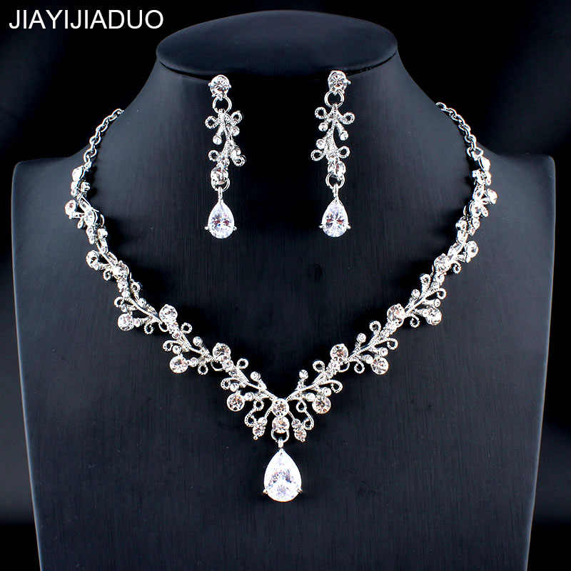 jiayijiaduo Glamour Women's Wedding Jewelry Set Silver/Gold Color Zircon Flower Necklace Earrings Set Girl Accessories Gift