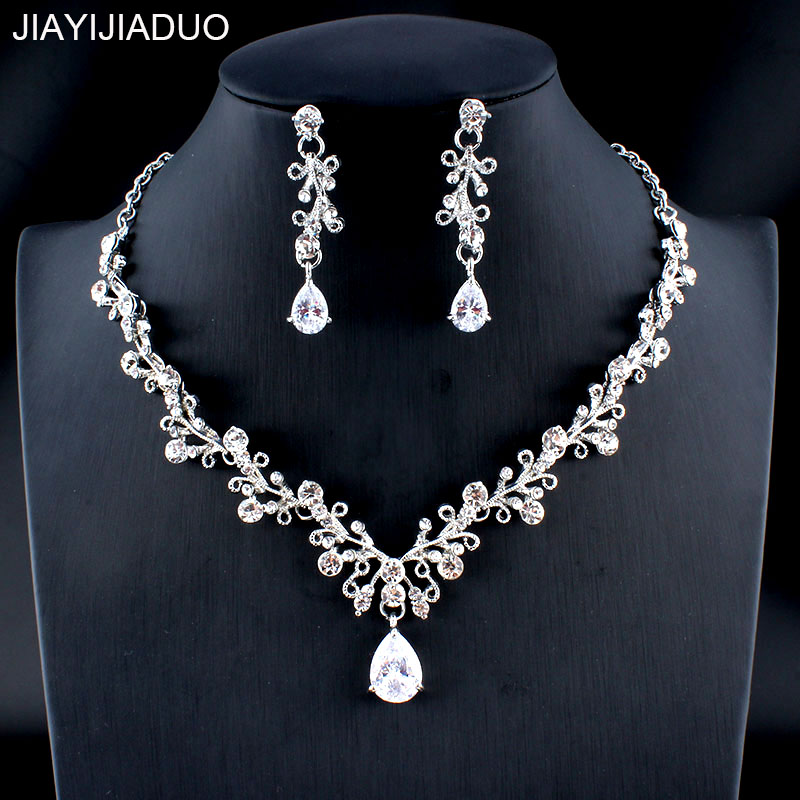 Jiayijiaduo Glamour Women's Wedding Jewelry Set Silver/Gold Color Zircon Flower Necklace Earrings Set Accessories Gift