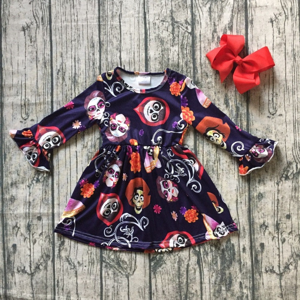 coco Carton COCO dress girls children milksilk black dress baby Fall/Winter long sleeve dress boutique kids wear match clip bow girls beauty glamorous bow sequin embroidery bubble long sleeve full clip dress