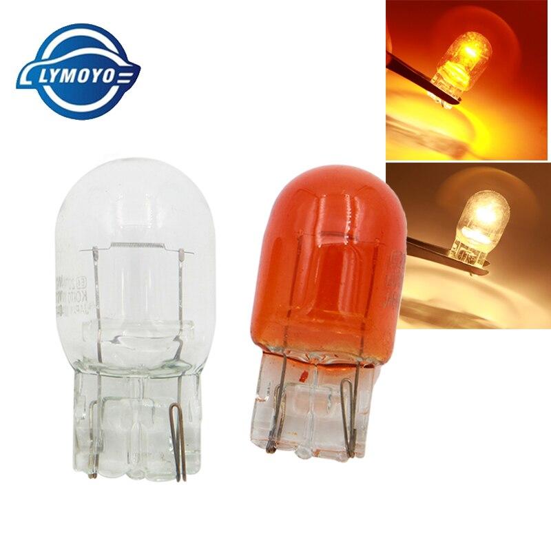 Автомобильная галогенная лампа LYMOYO, 10 шт., T20 w21/5 Вт, 7440, 7443, 12 В, теплые белые янтарные лампы стоп сигнала, стоп-сигнал, задний светильник, задни...