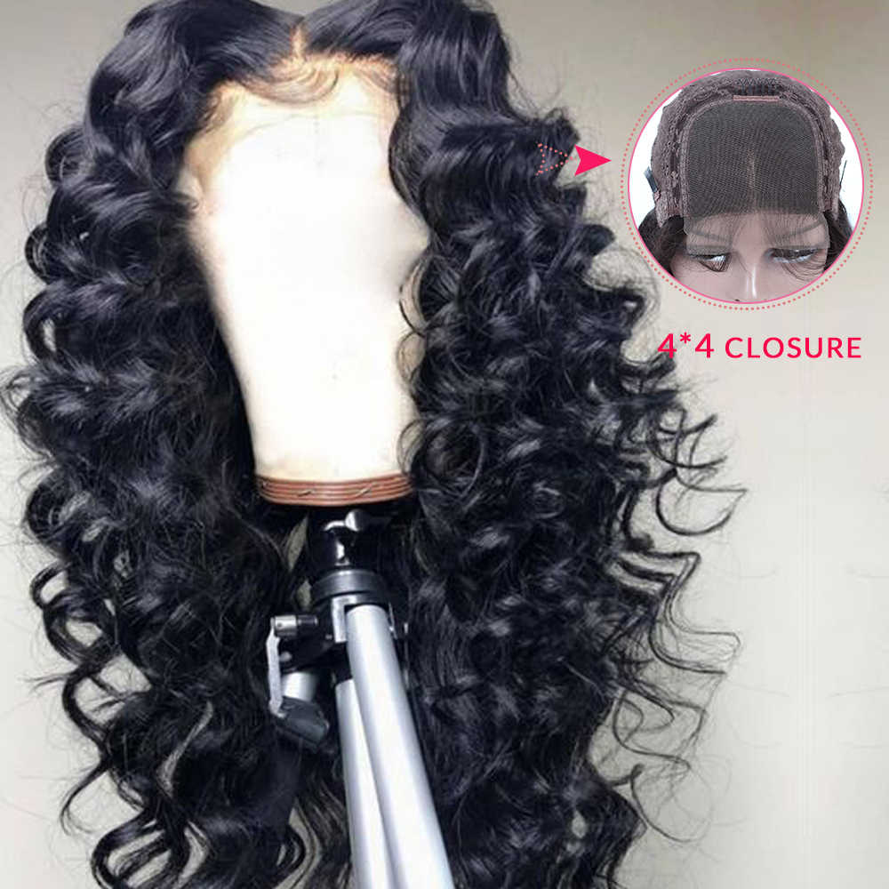Brazilian 4*4 Loose Deep Wave Lace Closure Human Hair Wigs With Baby Hair Remy 150% Density Human Hair Wigs QUEEN HAIR PRODUCTS