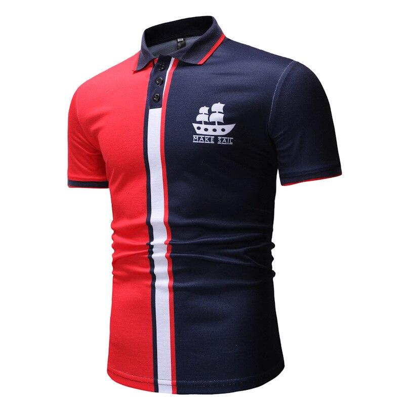 2019 nuevos hombres de Inglaterra estilo de algodón de manga corta Slim Fit  estampada de camisas e06f4bccfa4